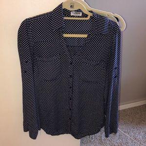 Navy Blue and white polka dot portofino shirt